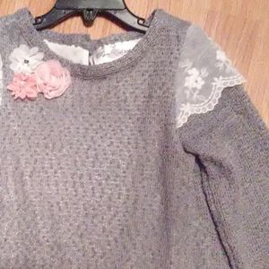 Too piece long sleeve sweater top with matching le